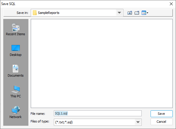 Export SQL dialog box