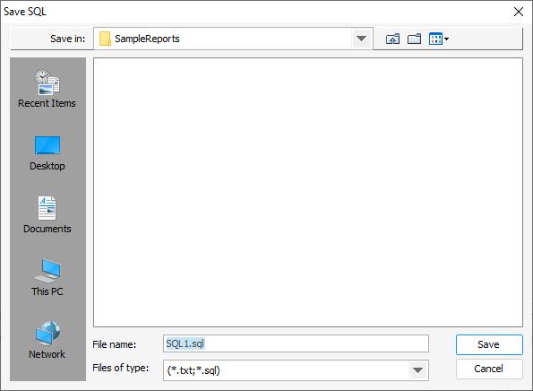 Export SQL dialog
